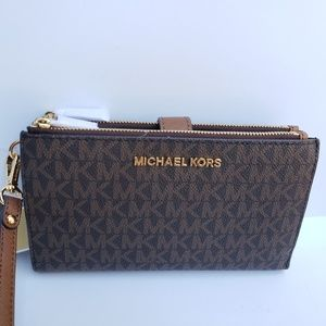 Michael kors double zip phone case wallet brown